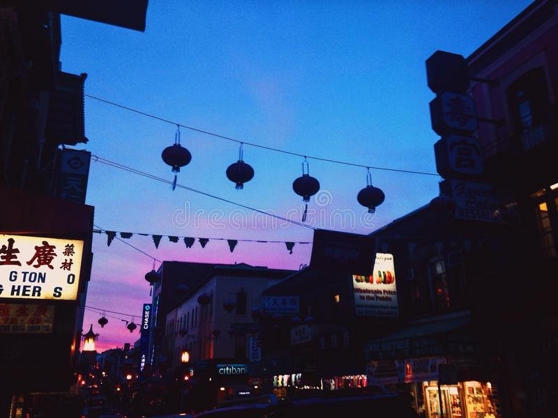 Grupo do sol de San Francisco da cidade de China imagens de stock