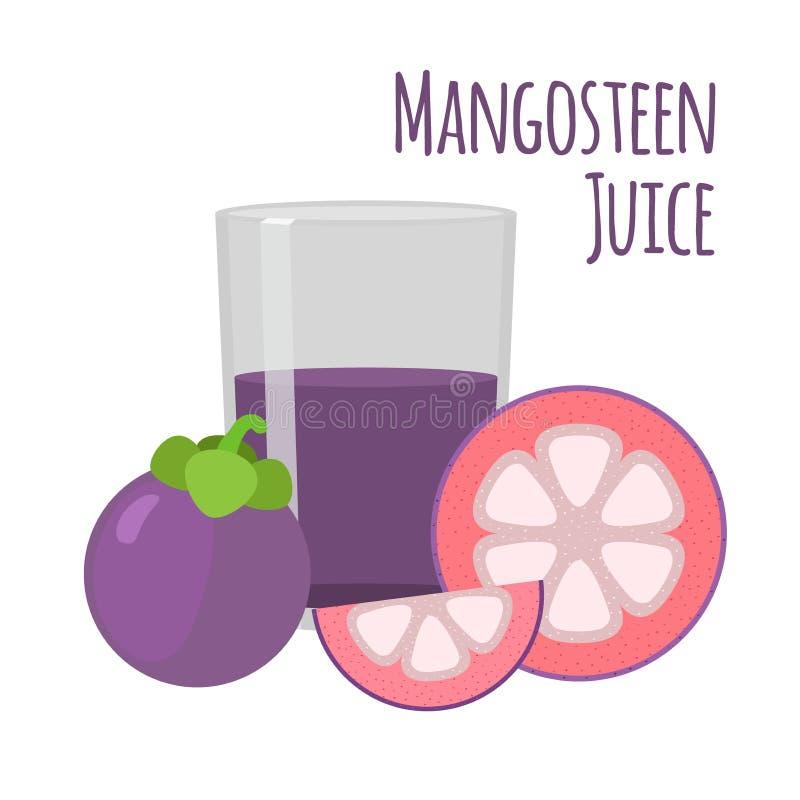 Grupo do suco do mangustão Fruto, fatias e mangustão roxos inteiros ilustração royalty free
