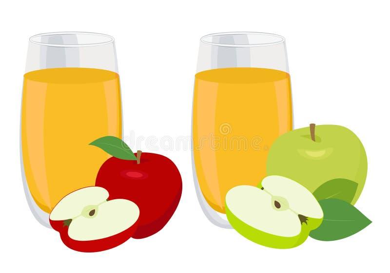 Grupo do suco Vidro do suco de maçã com as maçãs vermelhas e verdes Ilustração do vetor no fundo branco ilustração do vetor