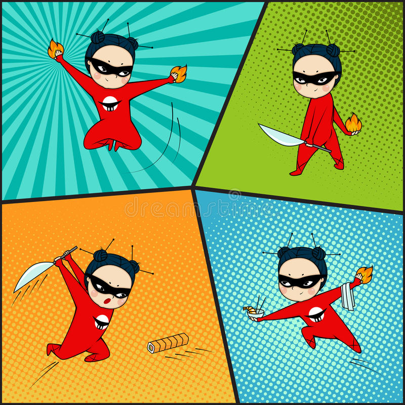 Grupo do super-herói, cozinheiro chefe da culinária japonesa ilustração do vetor