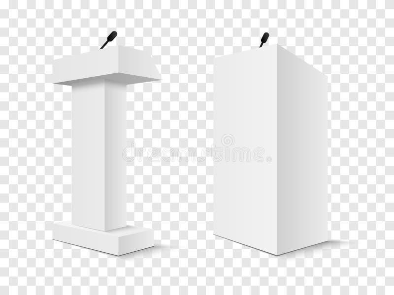 Grupo do suporte branco da tribuna da tribuna do pódio do vetor com os microfones isolados ilustração stock