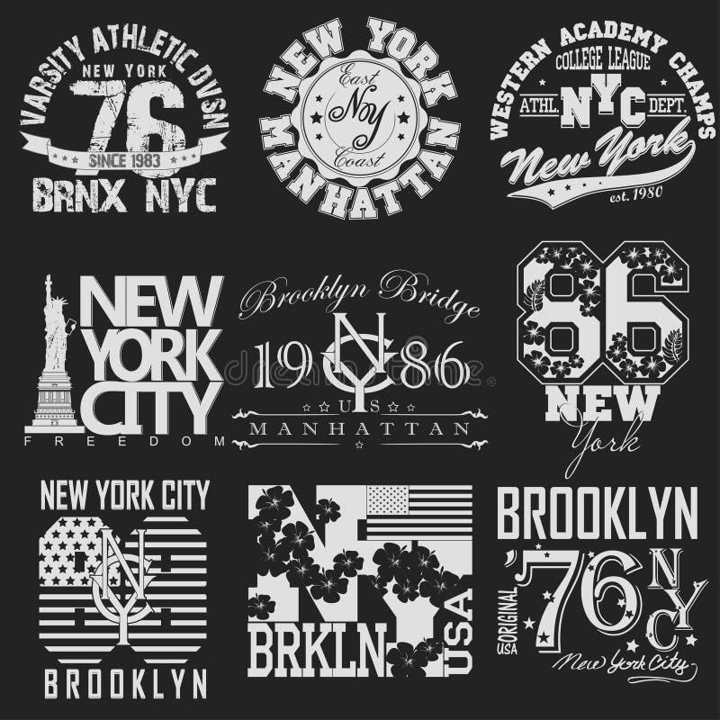 Grupo do t-shirt de New York ilustração stock