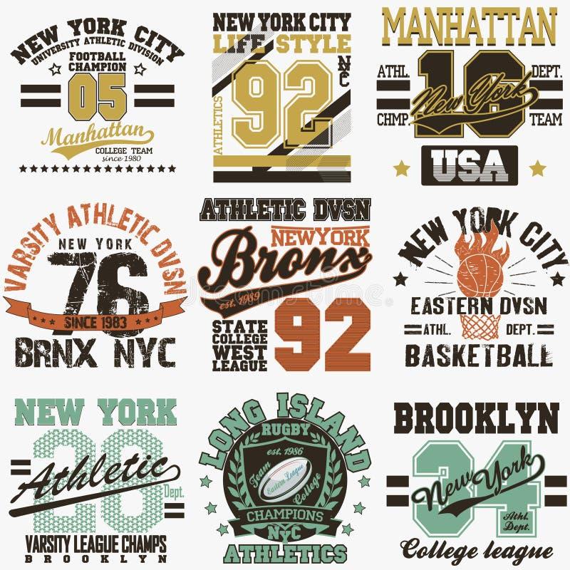 Grupo do t-shirt de New York ilustração royalty free