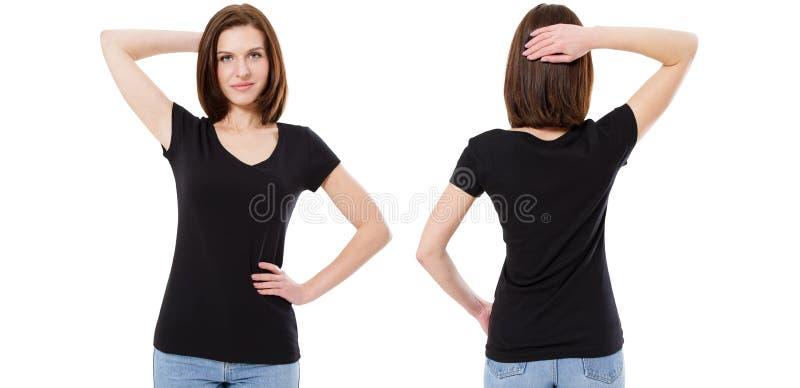 Grupo do t-shirt, morena bonito na camisa preta à moda de t isolada no fundo branco, trocista acima, placa imagem de stock royalty free