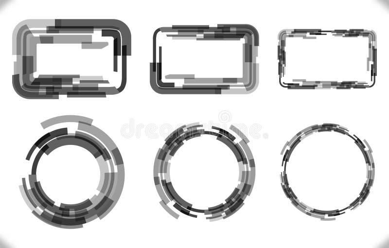 Grupo do techno - quadros com espessura diferente para o projeto futurista ilustração stock