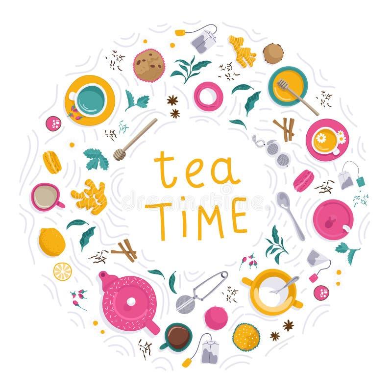 Grupo do tempo do chá ilustração do vetor