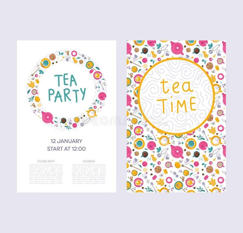 Grupo do tempo do chá ilustração royalty free