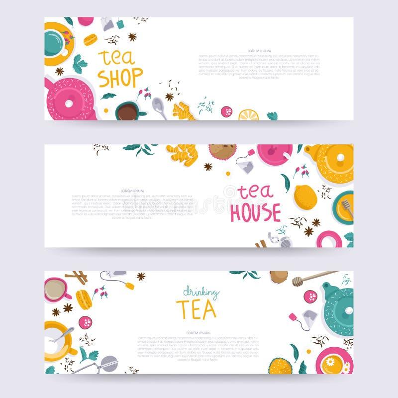 Grupo do tempo do chá ilustração stock
