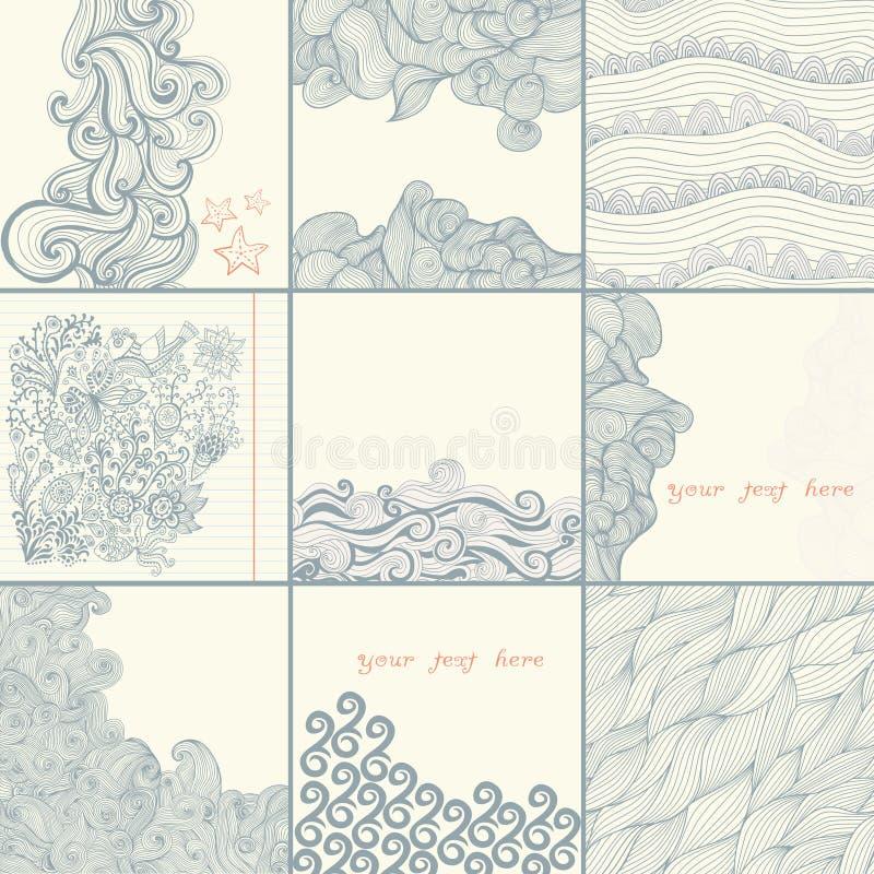 Grupo do tempo do mar Cartão abstrato do convite do vetor Quadro de do molde ilustração stock