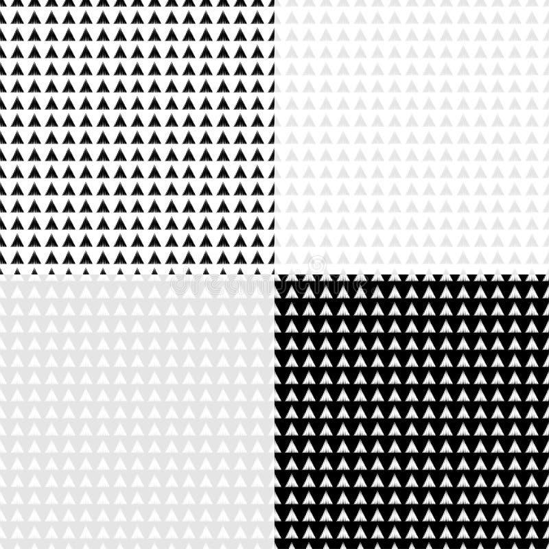 Grupo do teste padrão 4 geométrico abstrato sem emenda preto e branco ilustração royalty free