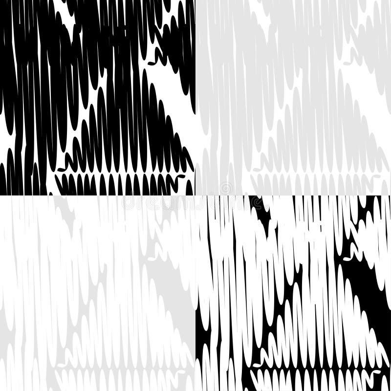 Grupo do teste padrão 4 geométrico abstrato sem emenda preto e branco ilustração stock