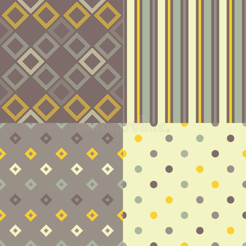 Grupo do teste padrão 4 geométrico abstrato sem emenda Textura do mosaico ilustração royalty free