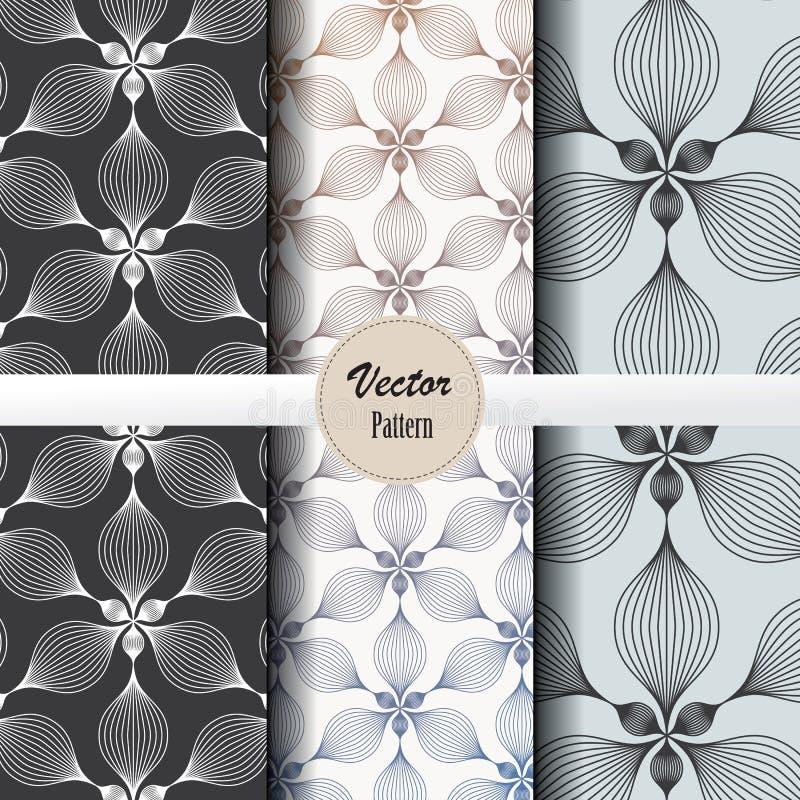 Grupo do teste padrão do vetor de flor linear abstrata que circunda na forma do hexágono nos tamanhos e nas cores ilustração do vetor