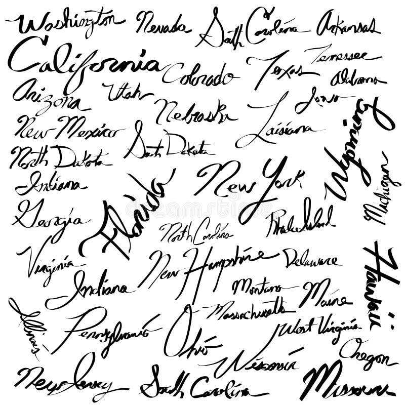 Grupo do texto da escrita da caligrafia dos nomes do estado dos EUA ilustração stock