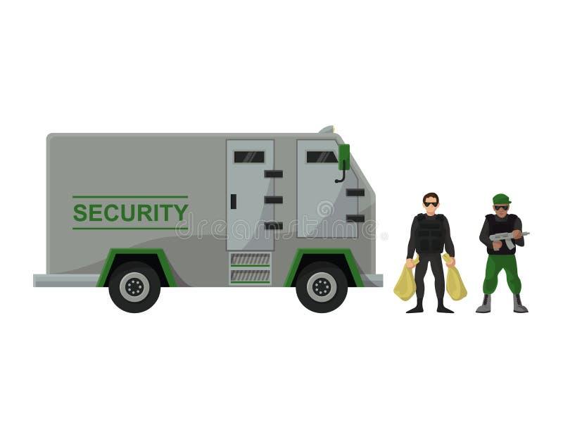 Grupo do transporte da armadura da ilustração do carro do transporte da camionete do dinheiro do banco do vetor do veículo blinda ilustração royalty free
