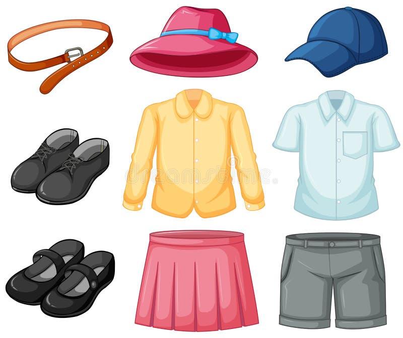 Grupo do uniforme da menina e do menino ilustração do vetor