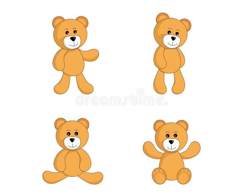 Grupo do urso de peluche posição bonito do brinquedo e urso de assento no estilo simples imagem isolada vetor para crianças ilustração do vetor