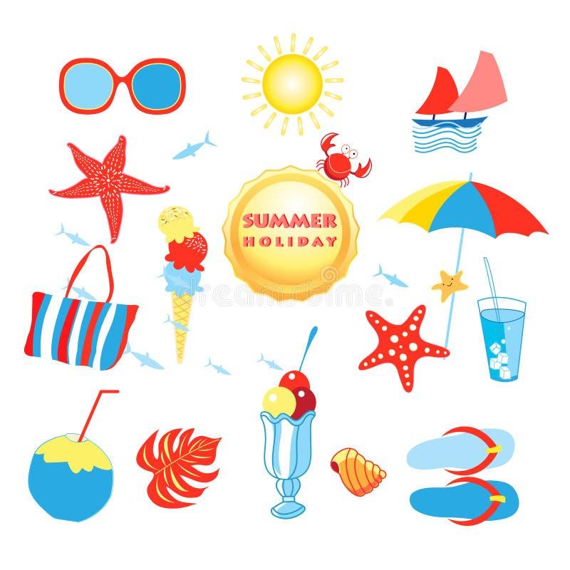Grupo do verão com objetos isolados diferentes ilustração do vetor