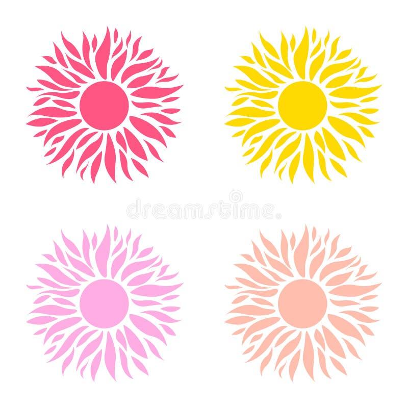 Grupo do ver?o de sol Molde colorido do sol ilustração royalty free