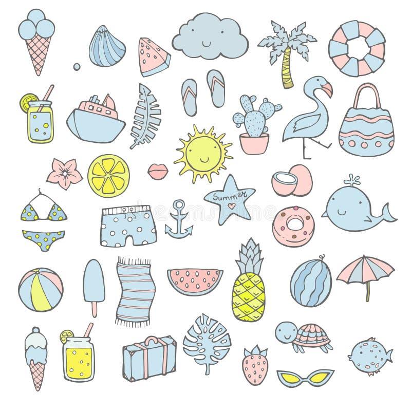 Grupo do verão, elementos tirados mão, caligrafia, flores, folha tropical, pássaros, grinaldas e outro Aperfeiçoe para a Web, car ilustração do vetor