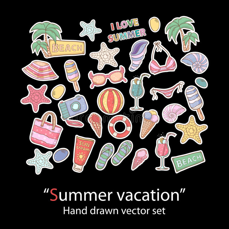 Grupo do verão scrapbook Coleção dos crachás do remendo da forma ilustração stock