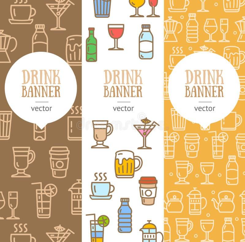 Grupo do vertical do inseto da bandeira da bebida Vetor ilustração stock