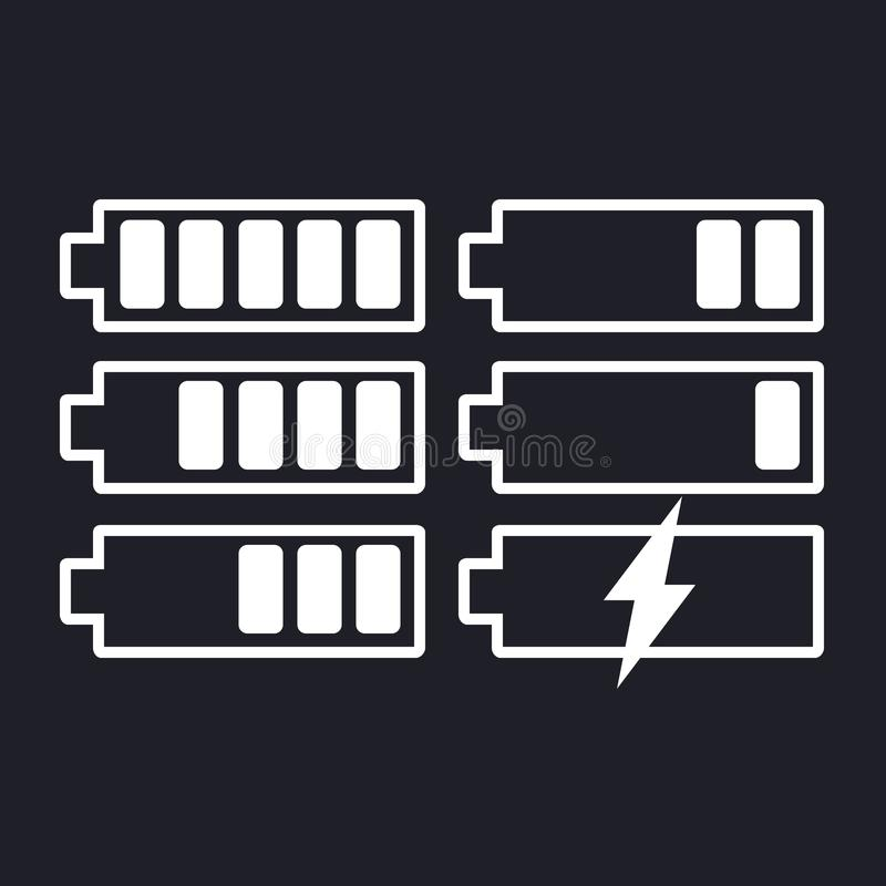 Grupo do vetor do ícone da bateria no fundo isolado Os símbolos da bateria carregam ao nível, completamente e ponto baixo O grau  ilustração stock