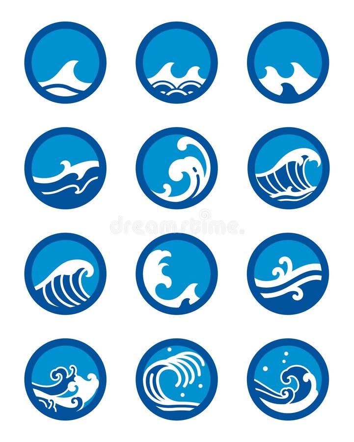 Grupo do vetor do ícone da onda de oceano ilustração royalty free