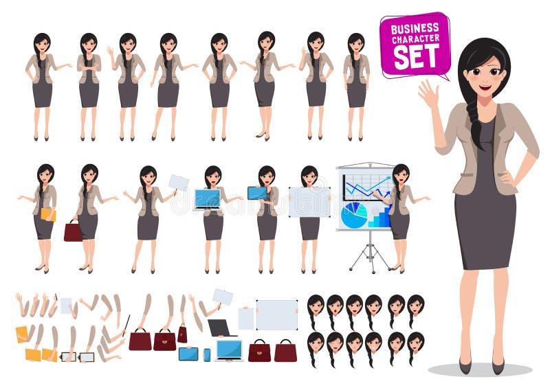 Grupo do vetor do caráter do negócio da mulher Posição fêmea do trabalhador de escritório ilustração royalty free