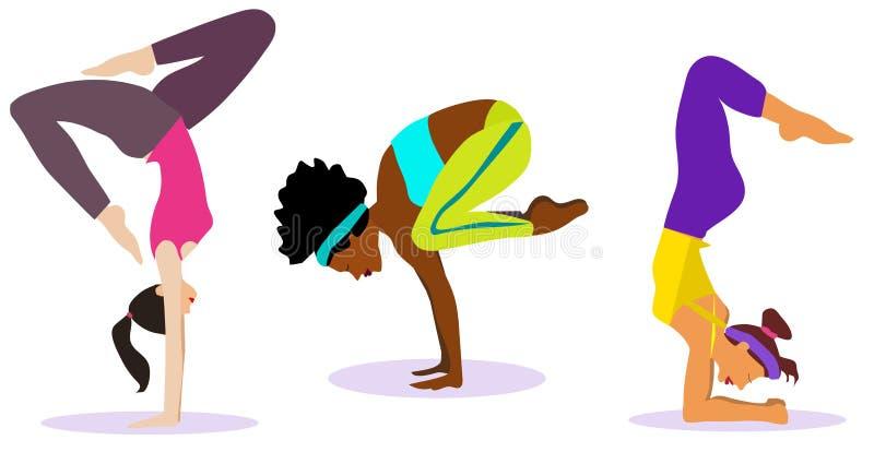 Grupo do vetor, cole??o Meninas magros novas que fazem o esporte, ioga, aptidão, ginástica, esticando Vetor IL liso ilustração royalty free