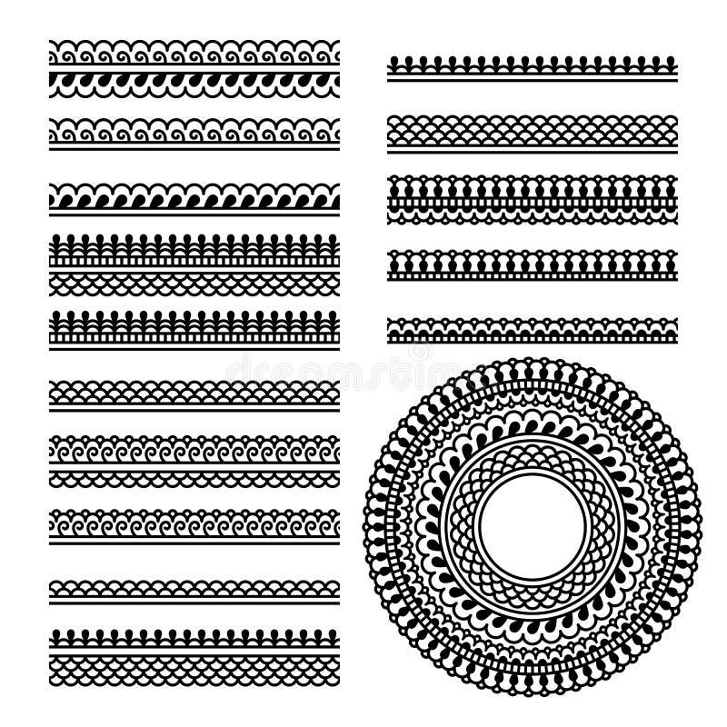 Grupo do vetor com as escovas geométricas indianas tradicionais do ornamental ilustração stock