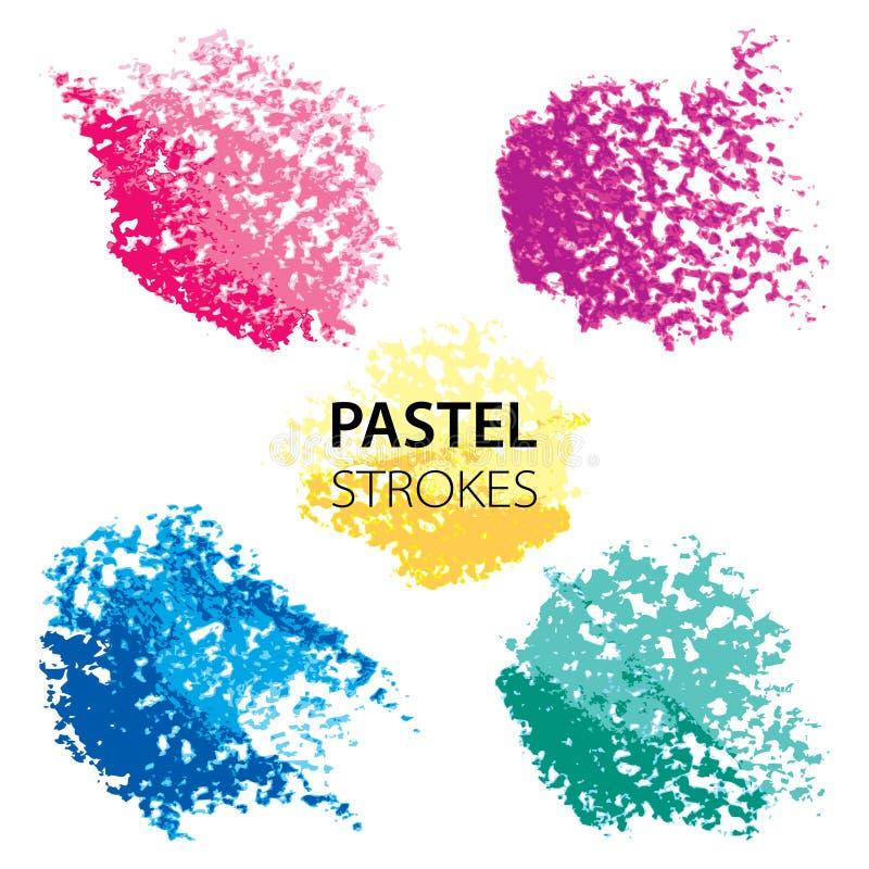 Grupo do vetor com os elementos redondos pasteis do projeto do óleo isolados no fundo branco Texturas abstratas do rosa, do azul  ilustração do vetor