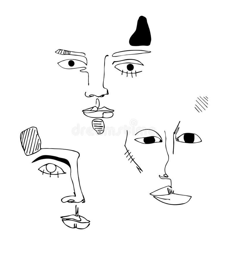 Grupo do vetor com três caras Silhueta linear abstrata do rosto humano Cartaz moderno da vanguarda Cara minimalistic na moda ilustração stock