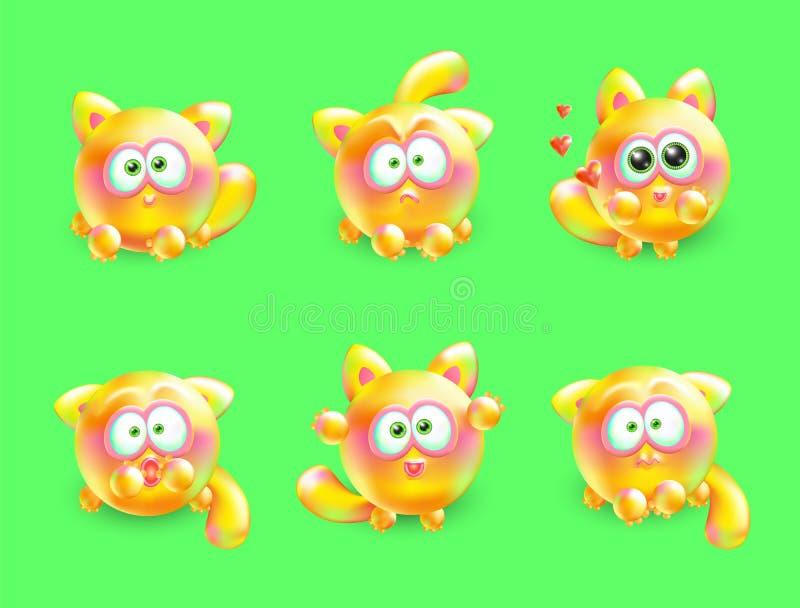 Grupo do vetor 3d de gatinhos pequenos emocionais Gato multi-colorido realístico com emoções diferentes em sua cara ilustração royalty free