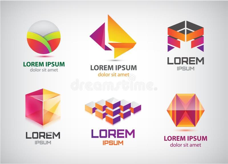 Grupo do vetor 3d dos logotipos coloridos abstratos, ícones ilustração do vetor