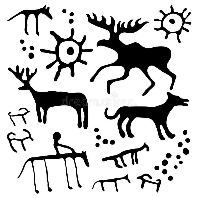 Grupo do vetor da arte da caverna ilustração do vetor