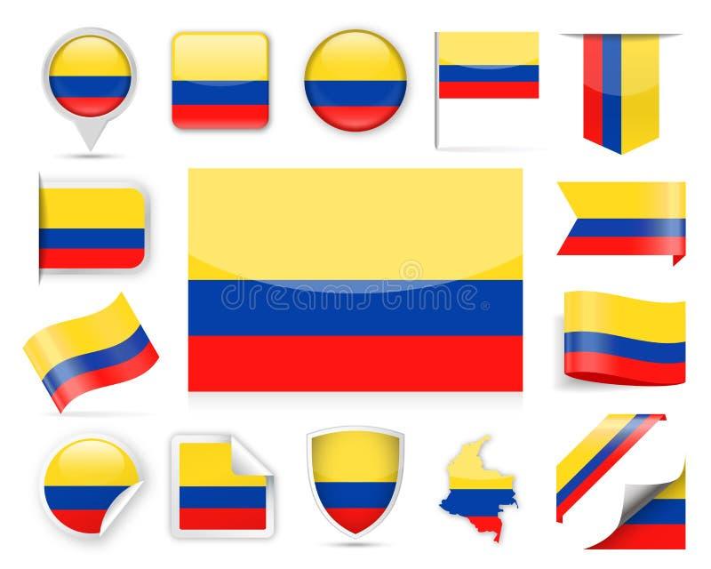 Grupo do vetor da bandeira de Colômbia ilustração royalty free