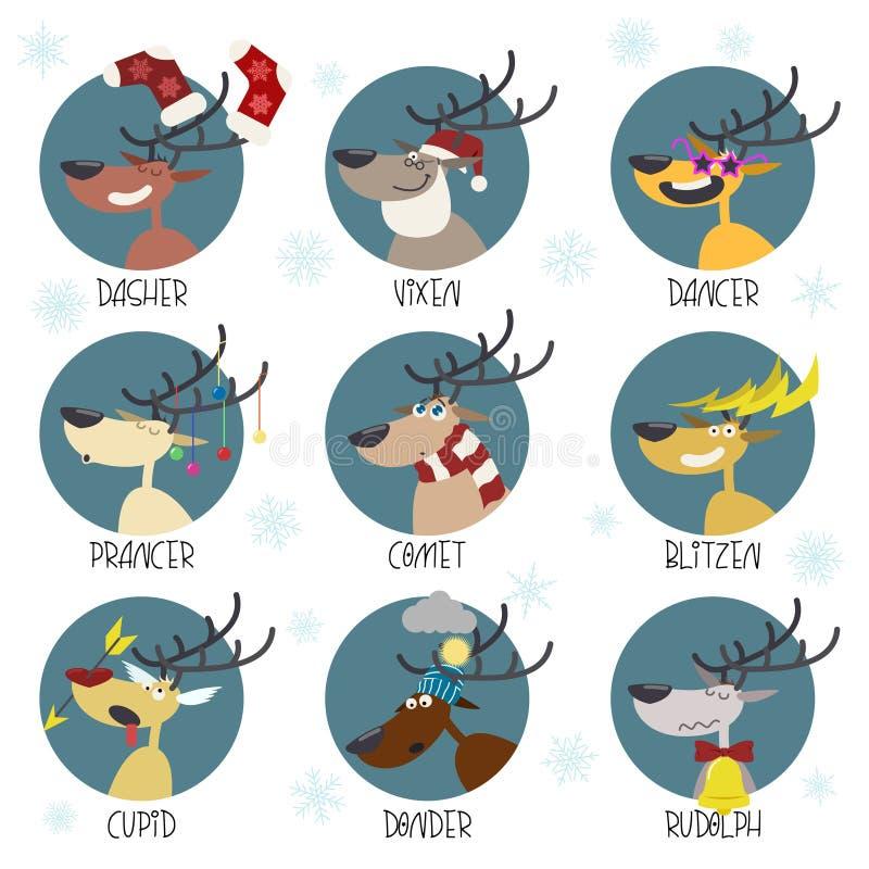 Grupo do vetor da etiqueta das renas de Santa ilustração do vetor