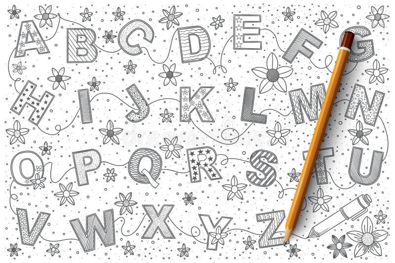 Grupo do vetor da garatuja do alfabeto ilustração royalty free