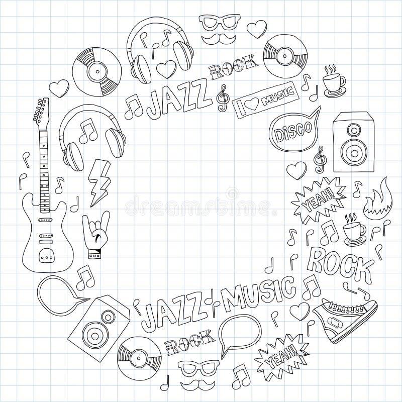 Grupo do vetor da garatuja da música ilustração stock