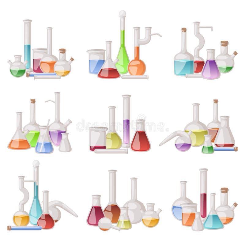 Grupo do vetor da garrafa do laboratório ilustração royalty free