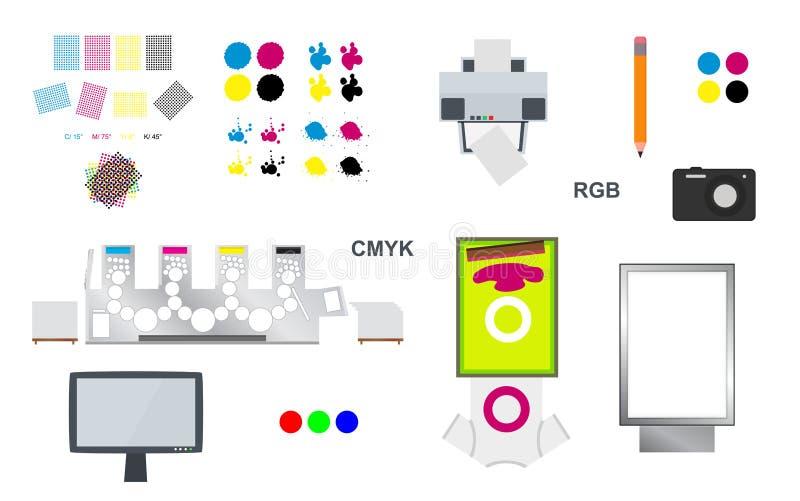 Grupo do vetor da impressão e da Web ilustração stock