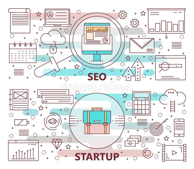 Grupo do vetor da linha fina moderna SEO e de bandeiras Startup ilustração stock