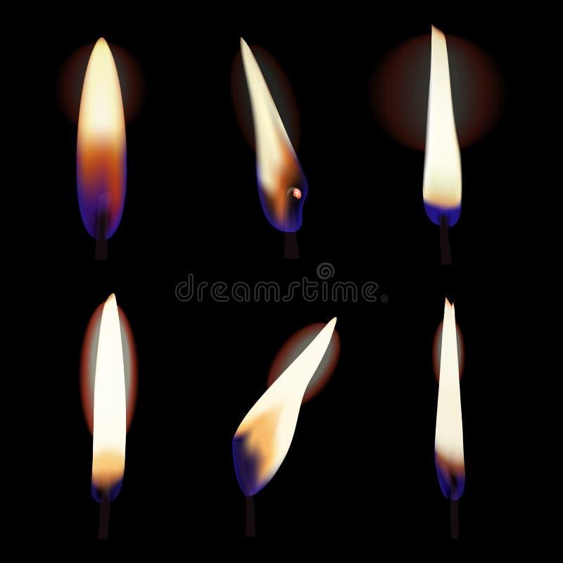 Grupo do vetor da luz e da chama da vela ilustração do vetor