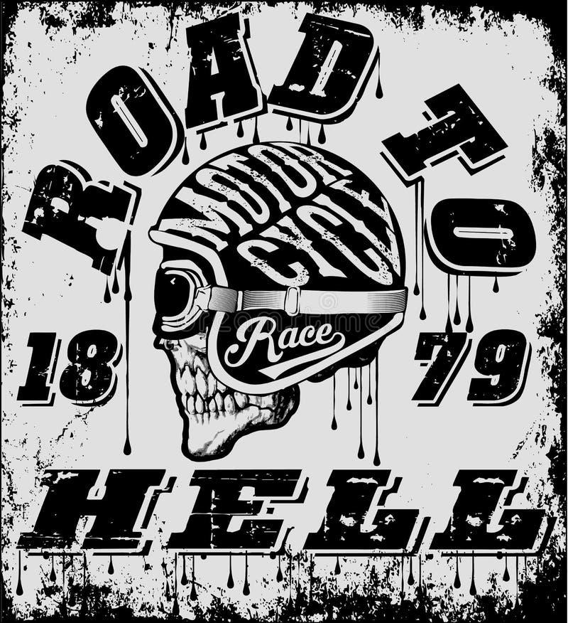 Grupo do vetor da motocicleta do vintage grupo do vetor do velomotor dos cavaleiros do crânio ilustração stock