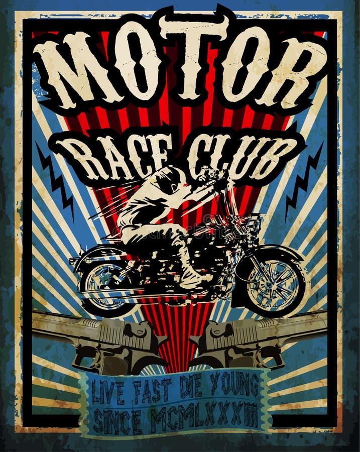 Grupo do vetor da motocicleta do vintage Vect do velomotor do projeto gráfico do T ilustração royalty free
