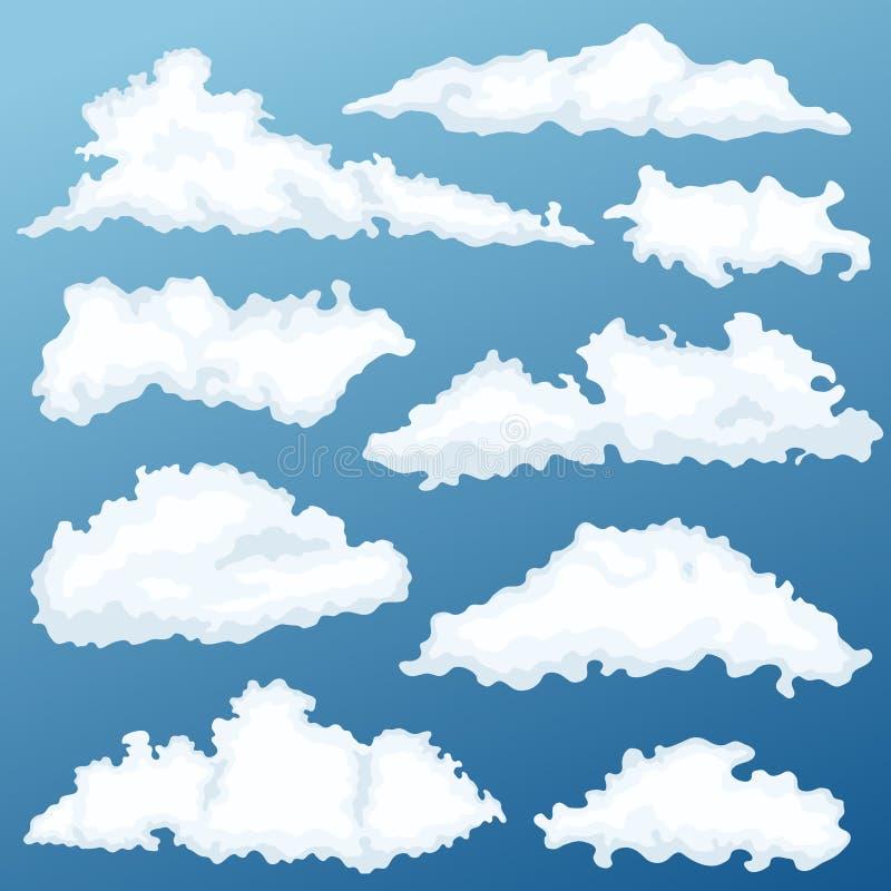 Grupo do vetor da nuvem dos desenhos animados Nuvens em um fundo do alvorecer ilustração do vetor