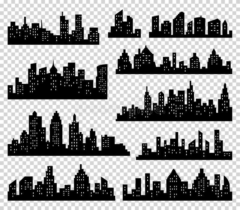 Grupo do vetor da silhueta da cidade Fundo do panorama Coleção urbana da beira da skyline Construções com janelas ilustração stock