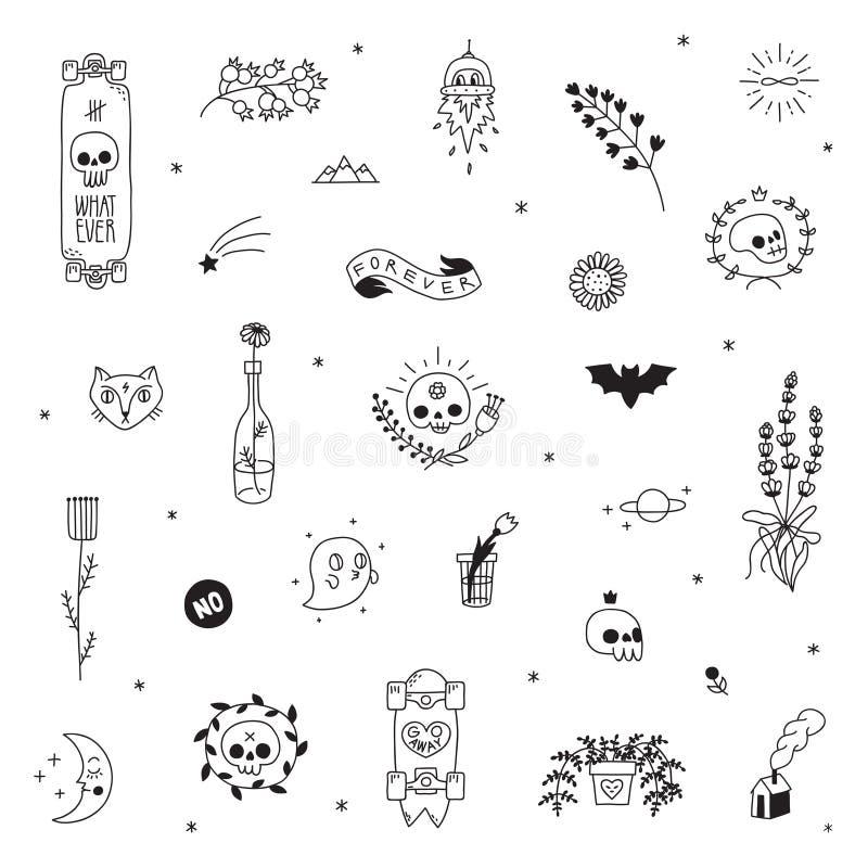 Grupo do vetor da tatuagem do preto do moderno da velha escola Parte dois ilustração stock