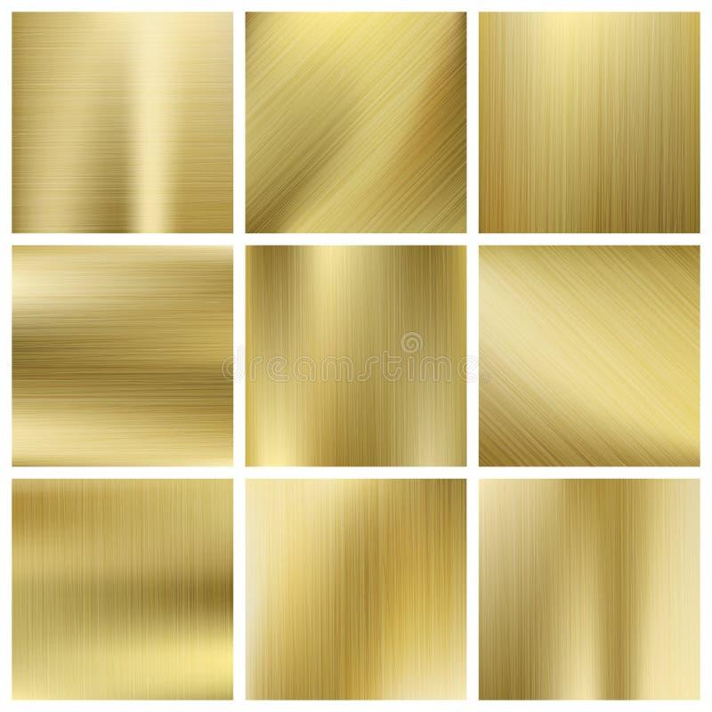 Grupo do vetor da textura do ouro, placas amarelas douradas brilhantes ilustração stock